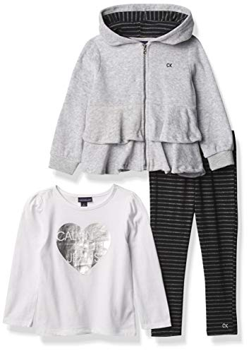 Calvin Klein Girls' 3 Piece Jean Jacket, Short Sleeve Shirt and Flower Print Pant Set