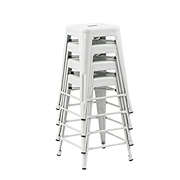 Buschman Store Metal Bar Stools 24 Counter Height, Indoor Outdoor and Stackable, Set of 4 Matte White