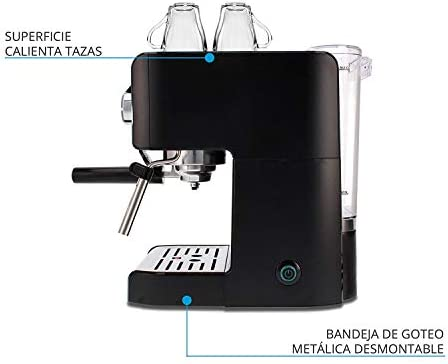 TM Electron TMPCF101 Machine à expresso manuelle avec 15 bars de pression, 1200 W, réservoir 1,2 L, mousseur à lait, 3 fonctions, fabriqué en acier inoxydable, 1 cups