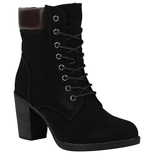 Stiefelparadies Damen Schnürstiefeletten mit Blockabsatz Profilsohle Holzoptikabsatz Flandell Schwarz Arriate