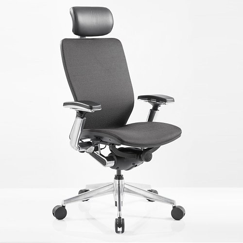 IC2 Mesh Black Shell Ergonomic Computer Chair with Headrest Black Mesh Fabric/Black Poly Shell/Chrome Arms and Base