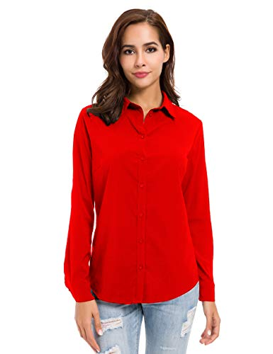 Womens Button Down Basic Official Shirts Long Sleeve Simple Formal Blouse Tops Red