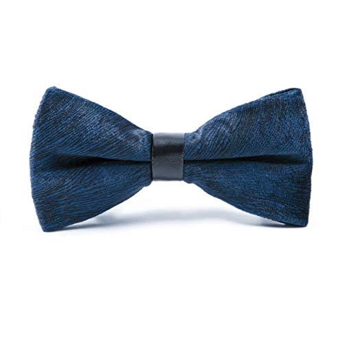 (YYQ Men's Supple Velvet Bow Tie Casual Married Groom Bow Neckwear Tide Dark Blue Solid Color Handmade Neckcloth Boys Necktie)