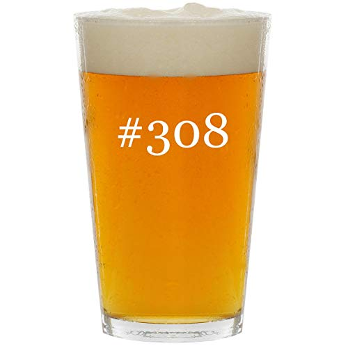 (#308 - Glass Hashtag 16oz Beer)