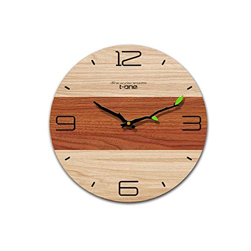 Yomioak Creative Wall Clock Living Room Bedroom Home Quartz Clock Cross Section Leaves Without Border 12 inches