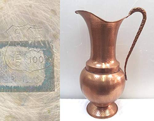 COOPER 100%/銅 製 水瓶/花瓶/壷/花器/銅器 全長約60.5cm 中古保管品 アンティーク/ヴィンテージ/インテリア  B07QGMNXF4