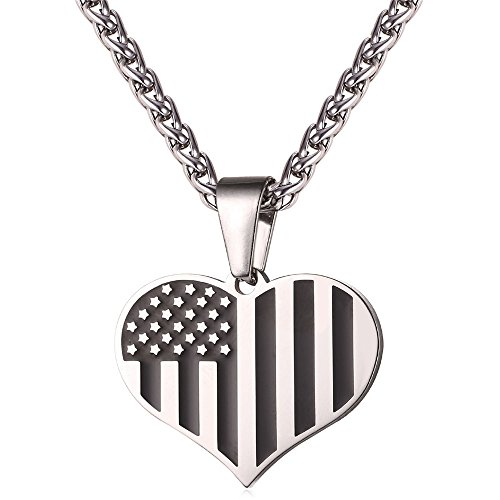 Heart Enamel US Flag Necklace Jewelry Stainless Steel Chain I Love My Country Charm Pendant for Men