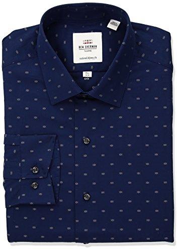 Ben Sherman Men's Clip Spot Soho Spread Fit Dress Shirt
