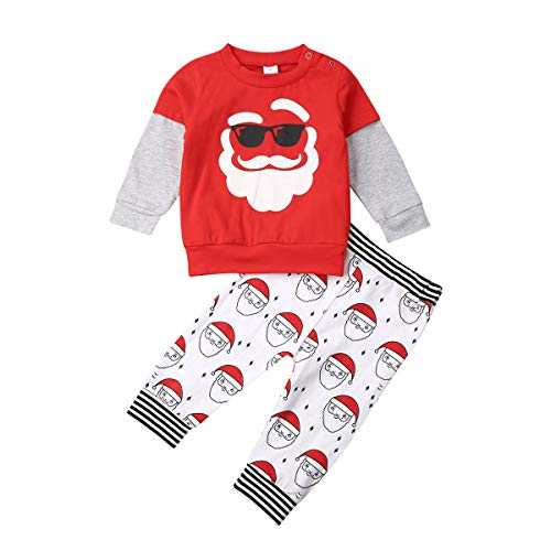 2Pcs Toddler Kids Baby Boy Girl Christmas Outfits Santa Claus Reindeer Long Sleeve T-Shirt Tops Pants Clothes Set (Santa, 4-5Y) (Day Cute Outfits Christmas)