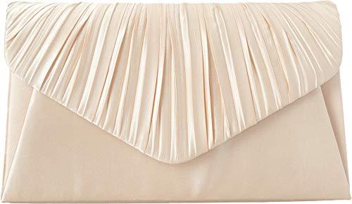 (Jessica McClintock Women's Satin V Crimped Flap Champagne One Size)