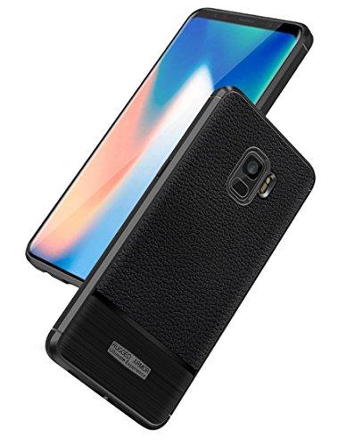 Funda Samsung Galaxy S9,Funda Fibra de carbono Alta Calidad Anti-Rasguño y Resistente Huellas Dactilares Totalmente Protectora Caso de Cuero Cover Case Adecuado para el Samsung Galaxy S9 A