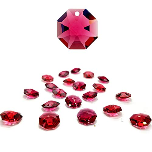 CrystalPlace 12 Pcs Swarovski Crystal, 14mm Bordeaux Crystal, One Hole Strass Octagon Lily, Ideal for Jewelry Making, Chandelier Parts, Arts Crafts