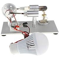 Fityle Single Cylinder & Flywheel Rotating Stirling Engine Model Light Lamp Electricity Generator Mechanism Kits Educational Toy