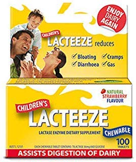 Lactase Enzyme Supplement Chewable Tablet - Lacteeze Childrens chewable tablets Strawberry (100 Tablets))