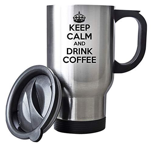 Keep Calm and Drink Coffee Travel Mug Thermal Stainless Steel Gift Christmas Birthday