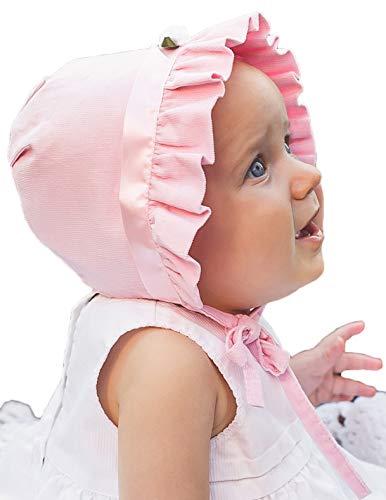 Huggalugs Baby Girls Pink Corduroy Rosette Bonnet 0-3m