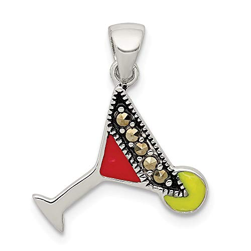 Q Gold Jewelry Pendants & Charms Themed Charms Sterling Silver Red and Green Enameled Martini Pendant