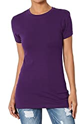 Themogan Women S Basic Crew Neck Short Sleeve T Shirts Cotton Tee Dark Purple L