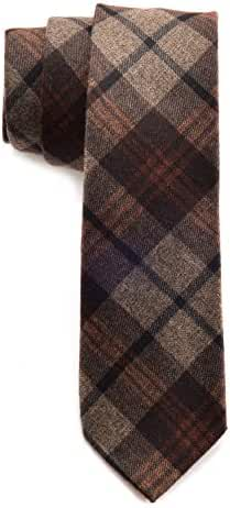Mens Necktie Plaid Cashmere Wool Slim Tie 2.4 inch