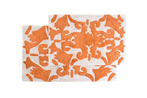 Great Deal! Chesapeake Iron Gate 2Pc. White & Coral Scroll Bath Rug Set 37314 (20x32 & 23x39)