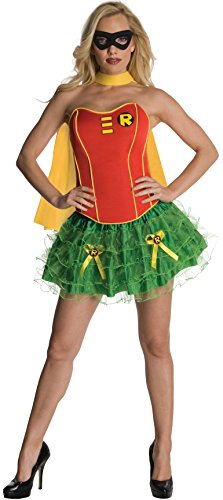 Red Corset Tutu Adult Costumes Dress (Secret Wishes DC Comics Robin Corset And Tutu Costume, Red/Green, Large)