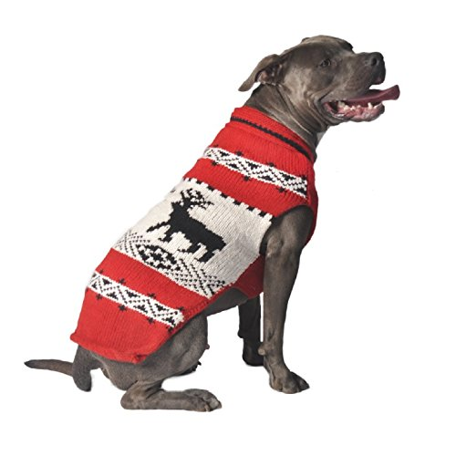 Chilly Dog Deer Shawl Dog Sweater, Red, X-Large