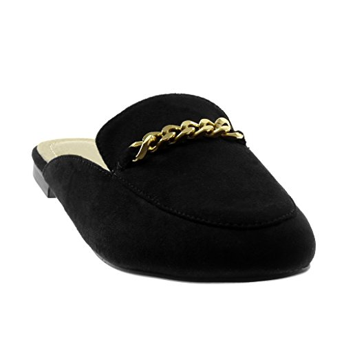 Angkorly Damen Schuhe Oriental Hausschuhe - Slip-On - Kette - Golden Blockabsatz 1.5 cm Schwarz
