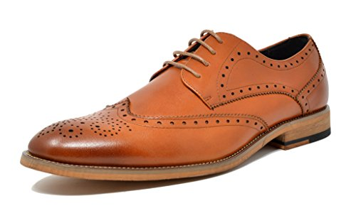 Bruno Marc Men's Waltz-3 Brown Italian Genuine Leather Collection Dress Oxfords Shoes - 9.5 M - Collection Leather