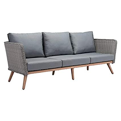 Amazon.com: Zuo Monaco Patio Sofa Natural & Gray: Jardín y ...