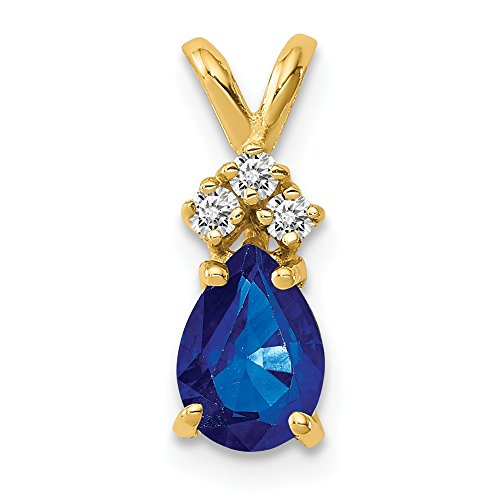 14K Yellow Gold 7x5mm Pear Sapphire AA Diamond pendant from Roy Rose Jewelry