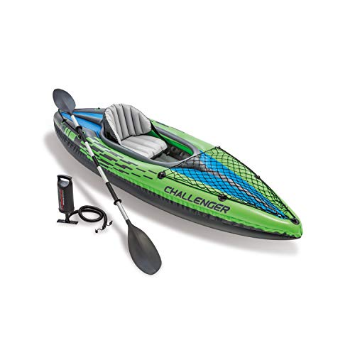 (Intex Challenger K1 Kayak, 1-Person Inflatable Kayak Set with Aluminum Oars and High Output Air Pump)