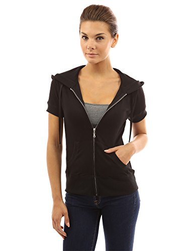 PattyBoutik Women's Hoodie Zip Up Short Sleeve Jacket (Black XL)