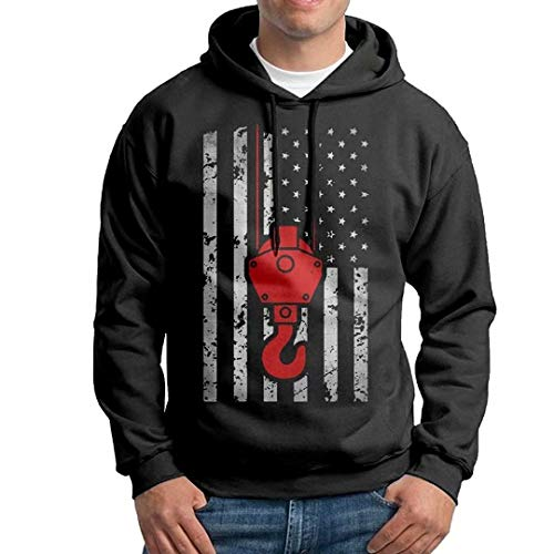 Crane Operator USA Flag America Patriotic Athletic Men's Dri-Power Pullover Hoodie Cotton Hooded Sweatshirt - Sweater Operator