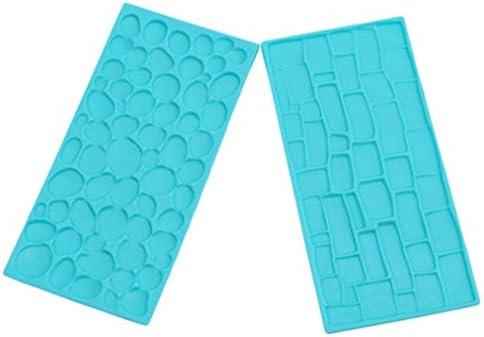 Sevenfly 2ピースストーンパターンシリコーン型チョコレートファッジシュガークラフトケーキデコレーションエンボスモールドdiyベーキングツール、ブルー