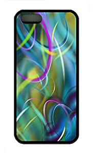 iPhone 5S Case, Personalized Protective Soft Rubber TPU Colorful Wind Black Case Cover for iPhone 5 5S