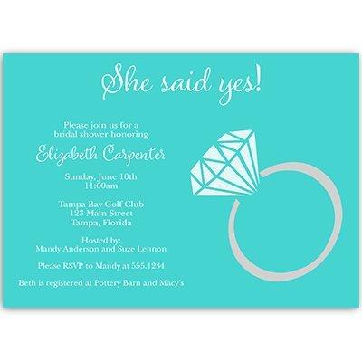 Bridal Shower Invitations, She Said Yes, Wedding Shower, Engagement, Ring, Aqua, Blue, Bling, Sparkle, Personalized, Customized, 10 Custom Printed Invites, She Said Yes (Mod Invite)