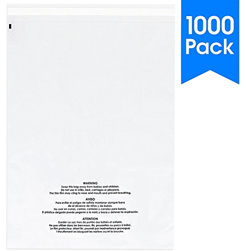 1000 Count - 11 X 14 Self Seal 1.5 Mil Clear Plastic Poly Bags with Suffocation Warning - Permanent Adhesive by Spartan Industrial (More Sizes Available) (Bags Shipping Seal)