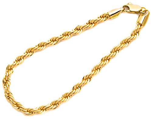 Gold Rope Bracelet 6MM, 24K Overlay Premium Fashion Jewelry, Guaranteed for Life, 8 Inches 8 Inch Rope Chain Bracelet