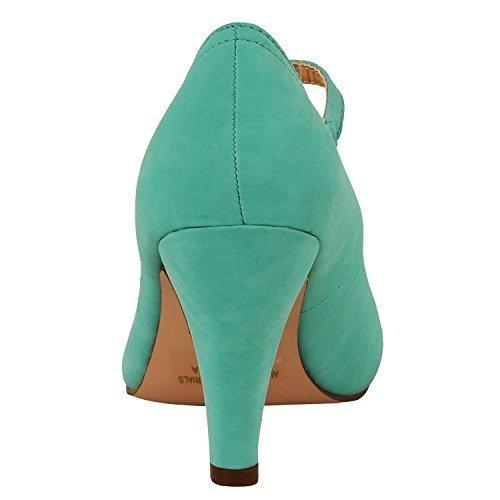 Chase & Chloe Kimmy-21 Women's Round Toe Pierced Mid Heel Mary Jane Style Dress Pumps (8.5 B(M) US, -