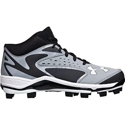 Mens Under Armour Yard Mid TPU Molded Baseball Cleats Grey/Black