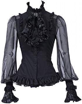 RQ-BL Blusa de manga larga victoriana, incluye Jabot con broche – Selección de colores (21094) negro Negro large: Amazon.es: Ropa y accesorios