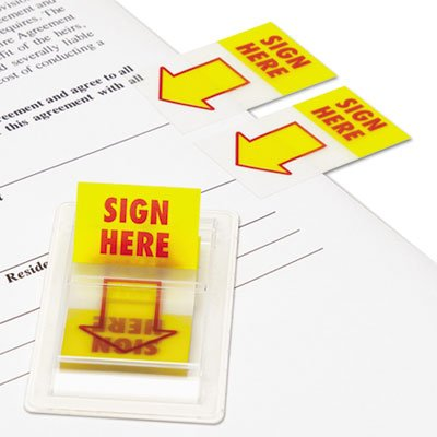 Arrow Page Flags, ''Sign Here'', Yellow/Red, 2 Dispensers of 50 Flags/Pack, Total 48 PK, Sold as 1 Carton