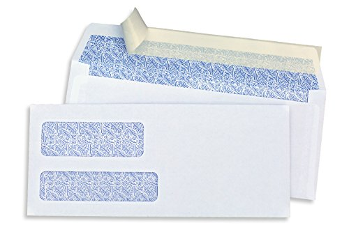 Custom Window Envelopes - SendIt #9 Double Window Envelopes, PEEL & SEAL, White, Blue Birdseye Security Pattern, 500 ct
