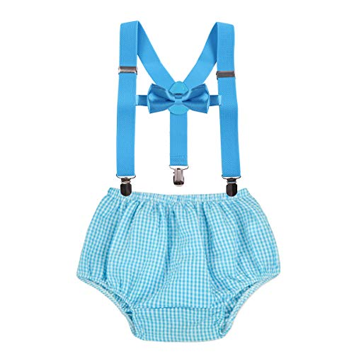 MYRISAM Baby Boys 1st 2nd Birthday Cake Smash Photo Props Party Outfits Printed Bloomers Diaper Cover Suspenders Bow Tie
