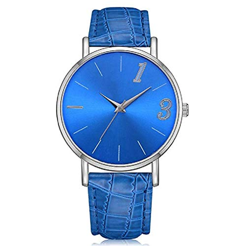 Noopvan Casual Delicate Scale Quartz Watch Classic Solid Color Ladies Watches Leather Band Movement Wristwatch for Women (Blue)