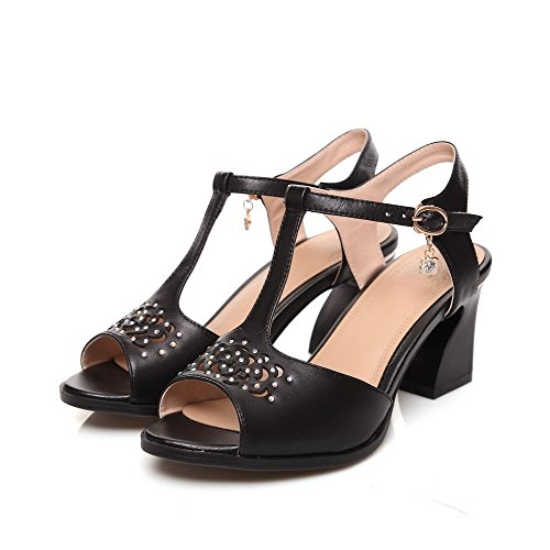Heel Buckle Peep Agoolar Sandal Solid Vacchetta Black Wide Women gCn5H1