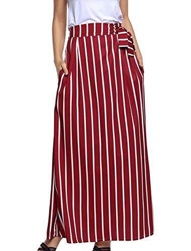 Jupe de Fox Raye Fr Soire Fashion Taille Femme Longue de Haute Bandage Vin Rouge Jupe Maxi t avec Jupes Casual Plage ulein 5BUqwcUX