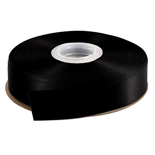 DUOQU 7/8 inch Wide Double Face Satin Ribbon 50 Yards Roll Multiple Colors Black by DUOQU