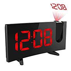 Projection Clock, Pictek 5 Curved-Screen Projection Alarm Clock, Digital Dimmable Projection FM Clock with USB Charging, Dual Alarm, Battery Backup, Red