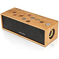 Bluetooth Speaker, Made of Wood, Bluetooth 4.2,24-Hour Playtime, 6W Dual-Driver, 2200mAh, Deep Bass Port, Surpport Iphone iPod, iPad, Samsung, LG, computer and others.